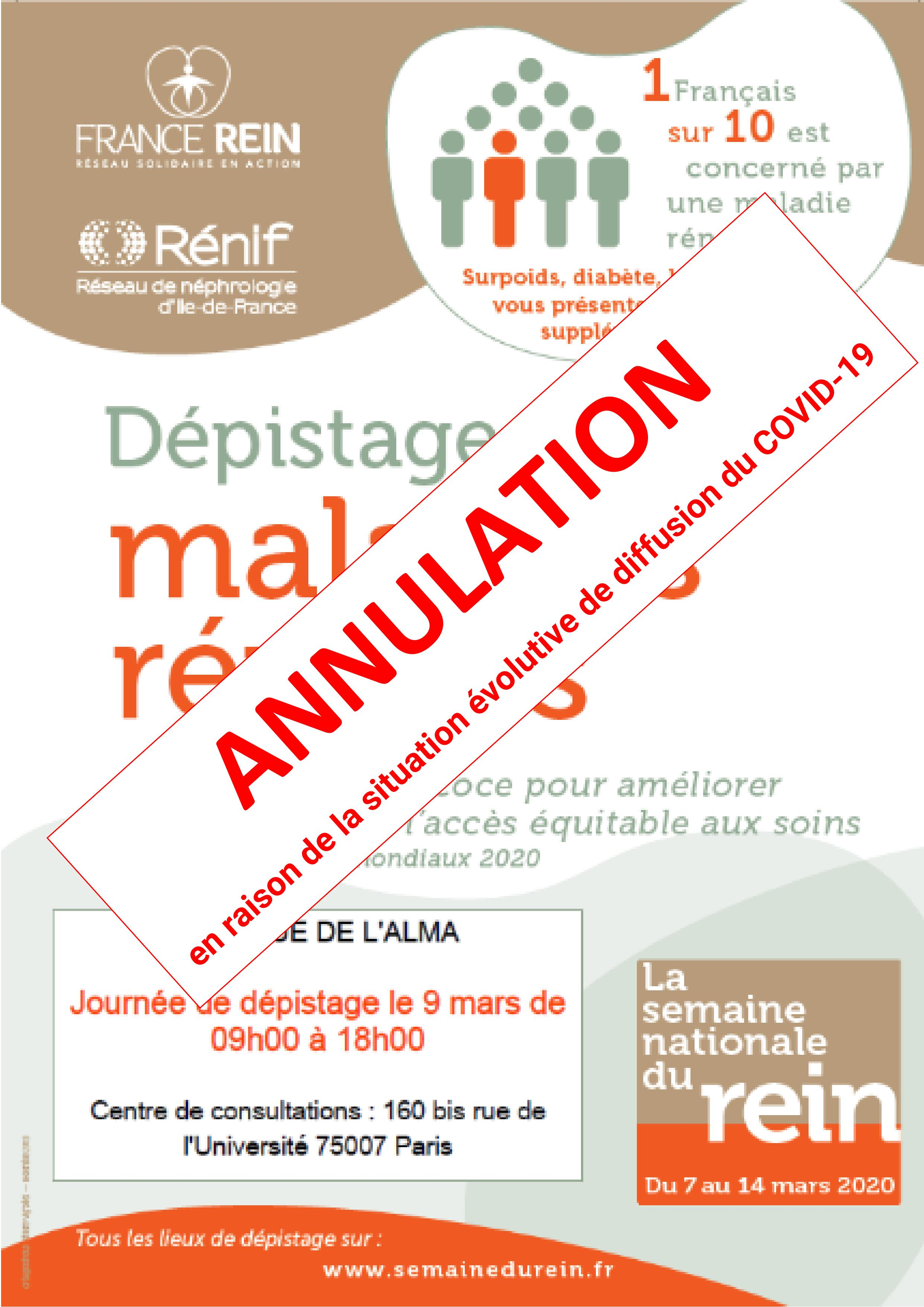 ANNULATION Journée de dépistage des maladies rénales